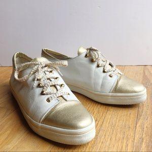 Stuart Weitzman Leather White & Gold Sneakers 8.5